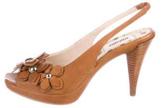 Kenzo Leather Slingback Sandals Brown Leather Slingback Sandals