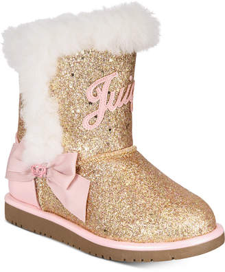 Juicy Couture Little & Big Girls Rose Gold Glitter Boots