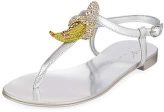 Giuseppe Zanotti Metallic Sandals with Banana Pendant