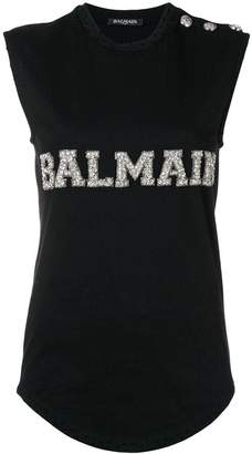 Balmain logo embroidered tank top