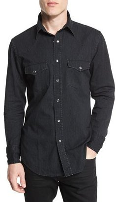 TOM FORD Western-Style Tailored Denim Shirt, Black $675 thestylecure.com