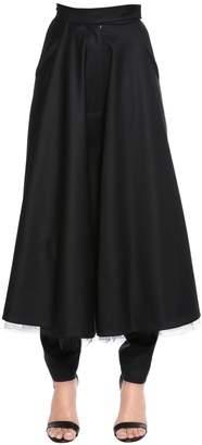 Gabardine Pants W/ Front Long Skirt