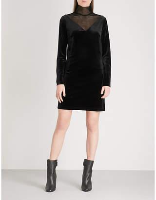 Mo&Co. Turtleneck velvet and mesh dress