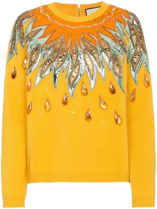 Gucci Leather Appliqué Wool Sweater