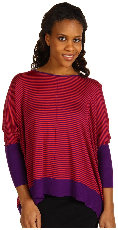Kenneth Cole New York - Exaggerated East/West Sweater (Red Coral/Amethyst) - Apparel