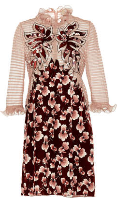 Bottega Veneta Floral Ruffled Silk Mini Dress