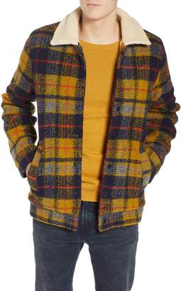 Scotch & Soda Plaid Faux Shearling Lined Wool Blend Trucker Jacket