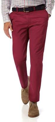 Charles Tyrwhitt Red Slim Fit Flat Front Washed Cotton Chino Pants Size W30 L30
