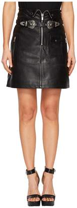 The Kooples Leather Skirt with Zip Detail and Buckles Women's Skirt