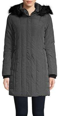 Weatherproof Hooded Faux-Fur Trim Puffer Coat