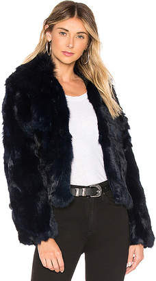 Adrienne Landau Fur Collar Rabbit Jacket
