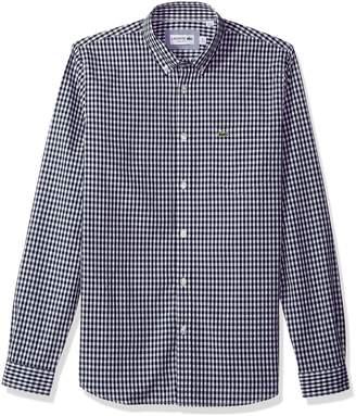 Lacoste Men's Long Sleeve with Pocket Gingham Poplin Regular Fit Woven Shirt, CH9559