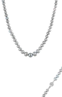 Splendid Pearls Grey 6-9mm Graduated Cultured Freshwater Pearl Necklace