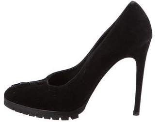 Gianni Versace Suede Round-Toe Pumps