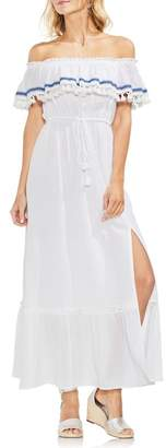 Vince Camuto Ruffled Off the Shoulder Cotton Gauze Maxi Dress