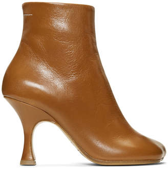 MM6 MAISON MARGIELA Brown Flared Heel Boots