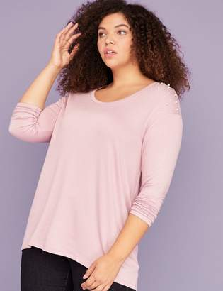 Lane Bryant Faux Pearl-Shoulder French Terry Tee