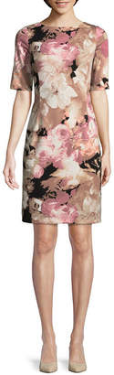 LONDON STYLE Elbow Sleeve Floral Sheath Dress-Petite