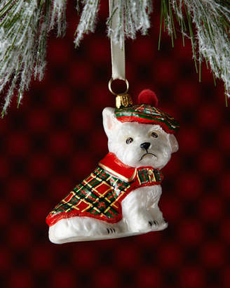 Joy To The World Collectibles Westie Dog in Tartan Jacket Christmas Ornament