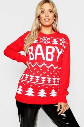 boohoo Plus Baby Snowflake Christmas Jumper