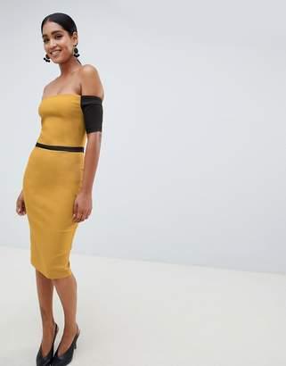Vesper off shoulder pencil dress with contrast sleeves