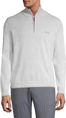 BOSS Zip-Neck Cotton Sweater