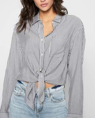 7 For All Mankind Striped High Low Tie Front Shirt in Grey and White