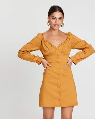 Missguided Long Sleeve Ruffle Button Down Shift Dress