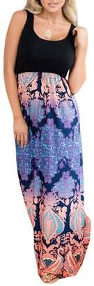 WO-STAR Women Sexy Sleeveless Casual Elegant Party Beach Long Tank Dress Sundress L