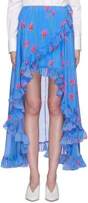 Caroline Constas 'Adelle' ruffle floral print high-low silk skirt