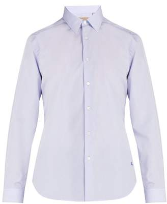 Burberry Logo Embroidered Cotton Poplin Shirt - Mens - Blue