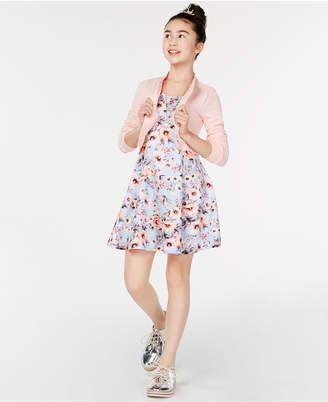 Beautees Big Girls 2-Pc. Bomber Jacket & Floral-Print Dress