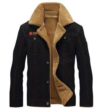 DLGLOBAL Men Bomber Jacket Air Force Pilot Jacket Warm Fur Collar Army Tactical Jacket