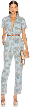 Mother The Zip Up Short Sleeve Jumpsuit in Fresh Cut   FWRD