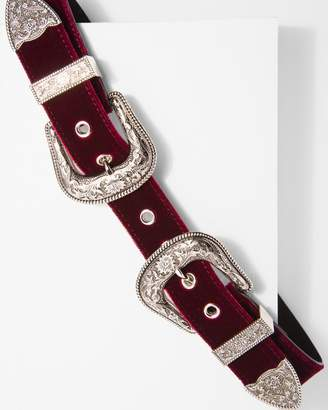 7 For All Mankind B-Low The Belt Bri Bri Velvet Belt in Burgandy and Silver