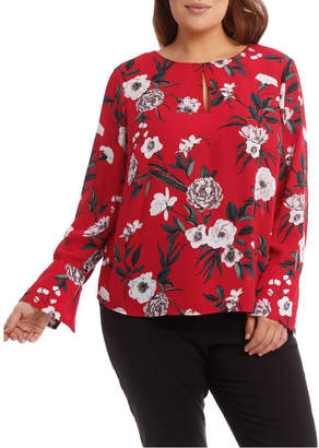 Miss Shop Large Bloom Wide Cuff Top