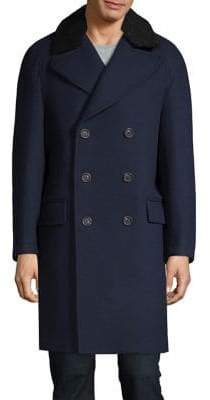 Lacoste Wool-Blend Double-Breasted Coat