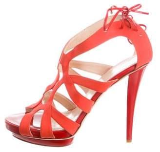 Aperlaï Satin Multi-Strap Sandals Satin Multi-Strap Sandals