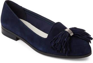 Anne Klein Navy Dixie Tassel Suede Loafers