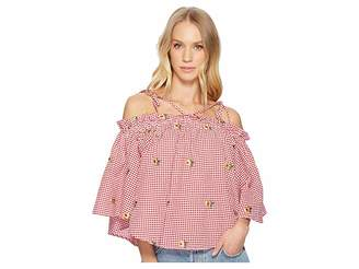 Romeo & Juliet Couture Gingham Daisy Blouse Women's Blouse