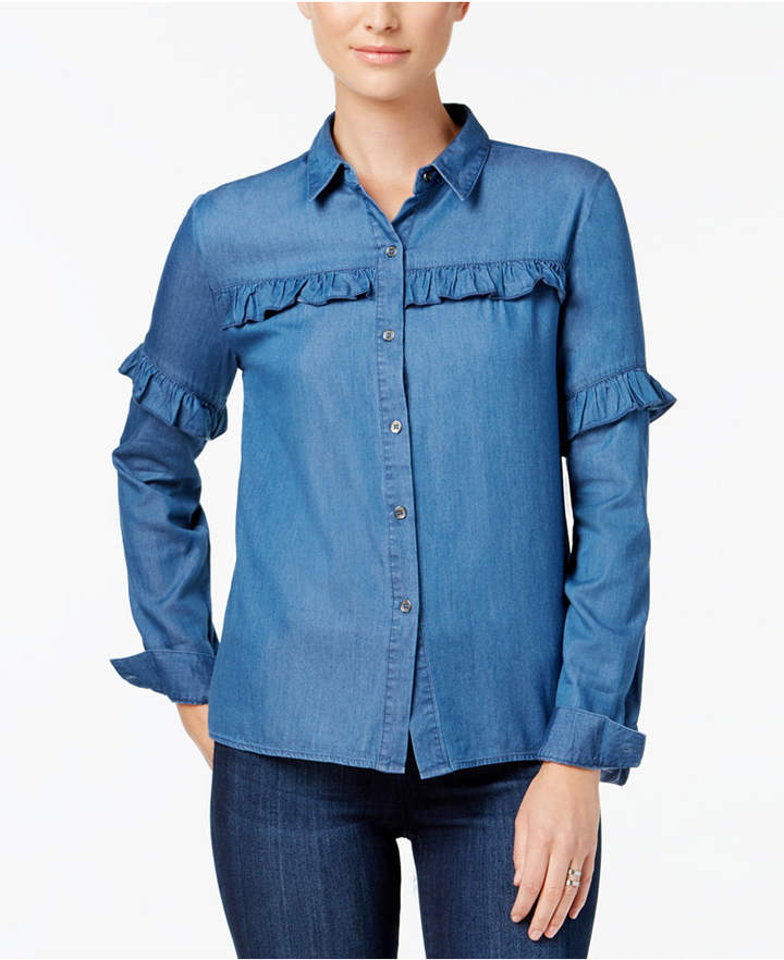 Buffalo David Bitton Tula Ruffled Denim Shirt