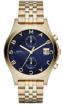 Marc by Marc Jacobs Slim Chrono Goldtone Stainless Steel Chronograph Bracelet Watch/Blue $300 thestylecure.com