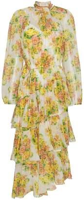 Zimmermann Golden tiered ruffle floral print midi dress