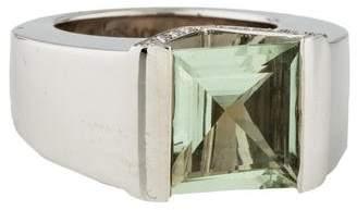 Versace 18K Prasiolite & Diamond Cocktail Ring