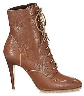 Manolo Blahnik Women's Lavoriccia Lace-Up Leather Ankle Boots