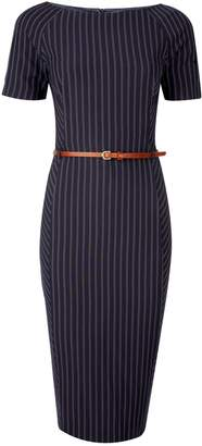 Dorothy Perkins Womens Blue Double Striped Belted Dress
