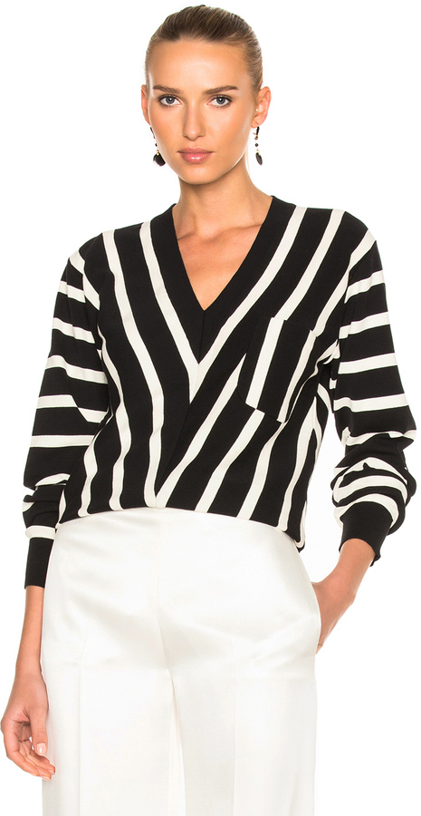 Chloé  Chloe Sailor Stripe V-Neck Sweater