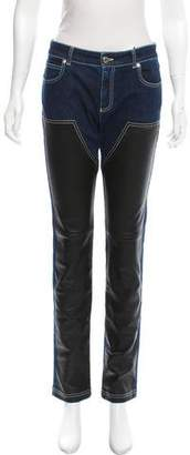 Givenchy Mid-Rise Leather-Trimmed Jeans w/ Tags