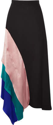 Roksanda Asymmetric Satin-paneled Silk Midi Skirt - Black
