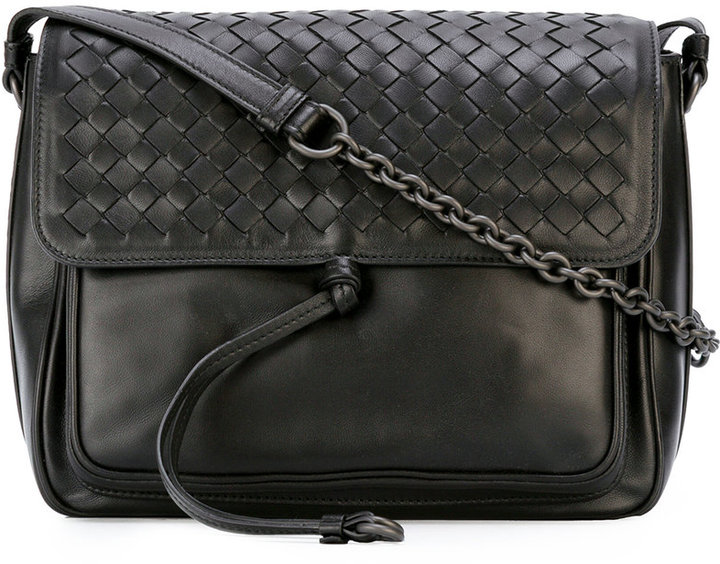 Bottega VenetaBottega Veneta woven flap shoulder bag